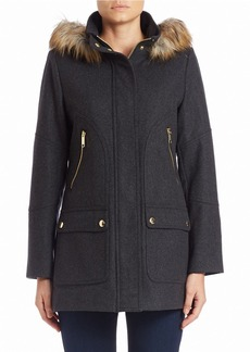 MICHAEL MICHAEL KORS Faux Fur-Trimmed Zip-Front Coat