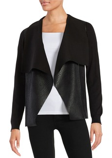 MICHAEL MICHAEL KORS Faux Leather-Accented Cardigan