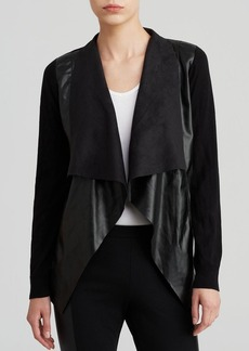 MICHAEL Michael Kors Faux Leather Front Cardigan