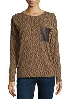 MICHAEL Michael Kors Faux-Leather-Pocket Long-Sleeve Tee