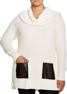 MICHAEL Michael Kors Faux Leather Pocket Sweater