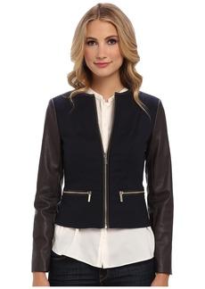 MICHAEL Michael Kors Faux Leather Zip Front Jacket