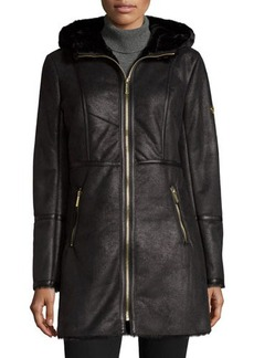 MICHAEL Michael Kors Faux-Suede Coat with Faux-Shearling Hood
