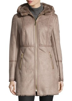 MICHAEL Michael Kors Faux-Suede Jacket with Faux-Shearling Hood
