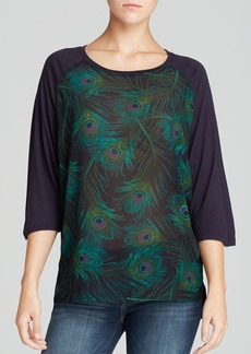 MICHAEL Michael Kors Feather Print Raglan Top