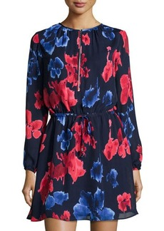 MICHAEL Michael Kors Floral-Print Drawstring Long-Sleeve Dress