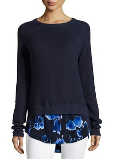 MICHAEL Michael Kors Floral-Shirttail Raglan Sweater