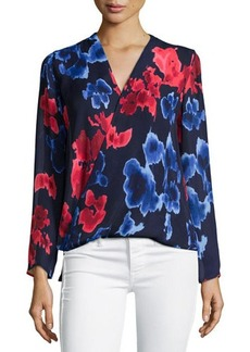 MICHAEL Michael Kors Floral Wrap-Front Long-Sleeve Blouse