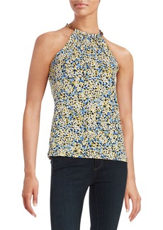 MICHAEL MICHAEL KORS Flowers and Leather Halter Top