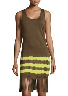 MICHAEL Michael Kors Fringe-Trim Striped Tank Dress
