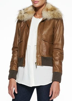 MICHAEL Michael Kors Fur-Trim Bomber Jacket