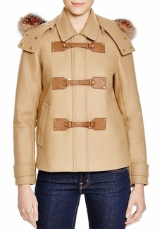 MICHAEL Michael Kors Fur Trim Cropped Duffle Coat