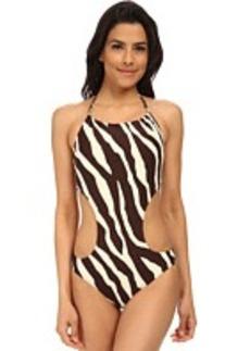 MICHAEL Michael Kors Ghanzi Zebra Chain Halter Cutout Maillot