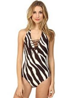 MICHAEL Michael Kors Ghanzi Zebra Lace Deep Plunge Maillot