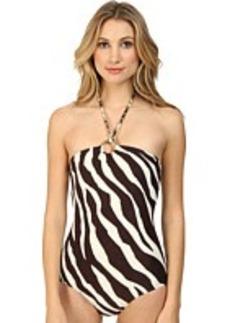MICHAEL Michael Kors Ghanzi Zebra Logo Ring Bandeau Maillot