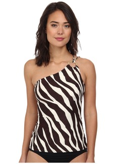 MICHAEL Michael Kors Ghanzi Zebra Logo Ring One Shoulder Tankini