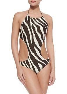 MICHAEL Michael Kors Ghanzi Zebra-Print Cutout One-Piece