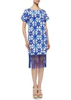 MICHAEL Michael Kors Glazed Tile-Print Short-Sleeve Fringe-Hem Dress