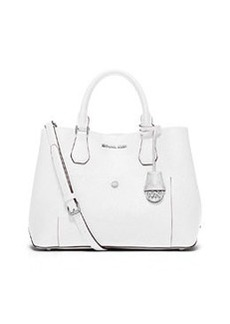 MICHAEL Michael Kors Greenwich Large Leather Tote Bag, Optic White/Aqua