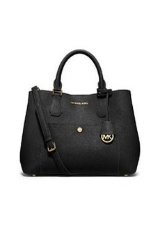 MICHAEL Michael Kors Greenwich Large Saffiano Tote Bag, Black/Luggage