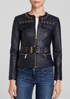 MICHAEL Michael Kors Grommet Trim Leather Jacket