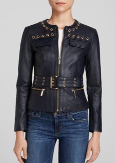 MICHAEL Michael Kors Grommet Trim Leather Jacket