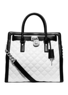 MICHAEL Michael Kors Hamilton Quilted North-South Tote Bag, Optic White/Black