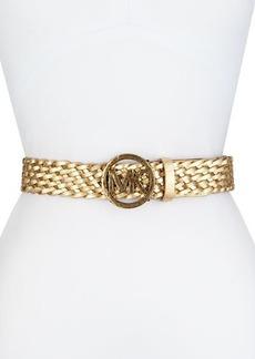 MICHAEL Michael Kors Hammered-Logo Braided Belt