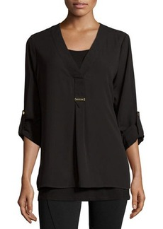 MICHAEL Michael Kors High-Low Roll-Tab Blouse