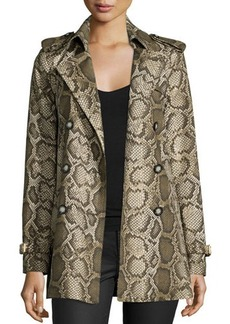 MICHAEL Michael Kors Hip-Length Python-Print Trenchcoat  Hip-Length Python-Print Trenchcoat
