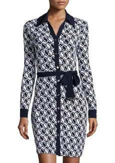 MICHAEL Michael Kors Honeycomb-Print Long-Sleeve Shirtdress