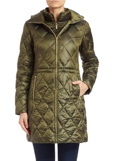 MICHAEL MICHAEL KORS Hooded Diamond-Quilted Coat