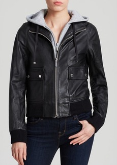MICHAEL Michael Kors Hoodie Leather Jacket