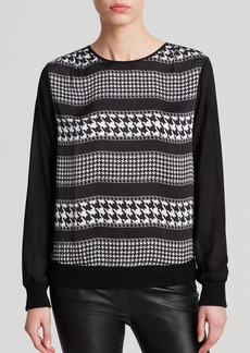 MICHAEL Michael Kors Houndstooth Stripe Top