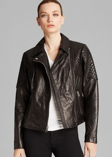 MICHAEL Michael Kors Jacket - Missy Leather Quilted Moto