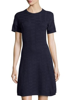 MICHAEL Michael Kors Jacquard Short-Sleeve A-Line Dress