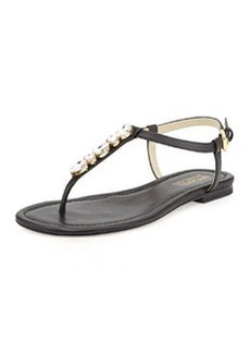 MICHAEL Michael Kors Jayden Embellished Thong Sandal, Black