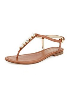 MICHAEL Michael Kors Jayden Embellished Thong Sandal, Luggage