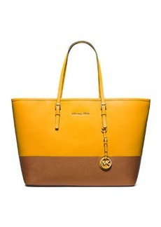 MICHAEL Michael Kors Jet Set Medium Bicolor Saffiano Travel Tote Bag, Sun/Luggage