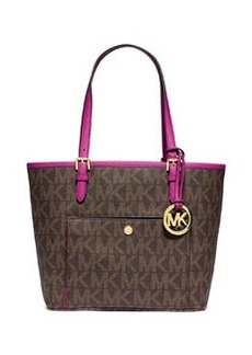 MICHAEL Michael Kors Jet Set Medium Snap-Pocket Tote Bag, Brown/Fuchsia