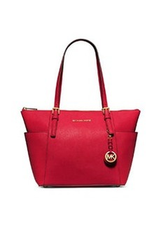 MICHAEL Michael Kors Jet Set Top-Zip Saffiano Tote Bag, Chili