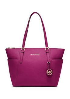 MICHAEL Michael Kors Jet Set Top-Zip Saffiano Tote Bag, Fuchsia