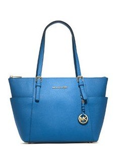 MICHAEL Michael Kors Jet Set Top-Zip Saffiano Tote Bag, Heritage Blue