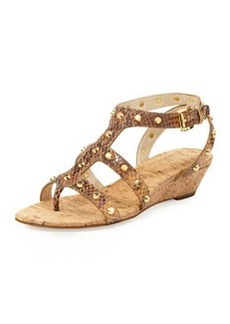 MICHAEL Michael Kors Jolie Snake-Print Studded Low Wedge
