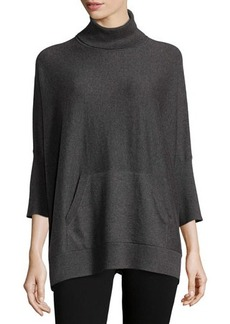 MICHAEL Michael Kors Kangaroo-Pocket 3/4-Sleeve Turtleneck Poncho