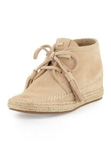 MICHAEL Michael Kors Kendrick Suede Lace-Up Wedge, Bone