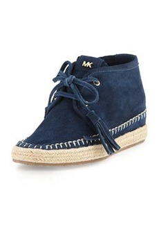 MICHAEL Michael Kors Kendrick Suede Lace-Up Wedge, Navy