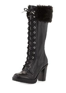 MICHAEL Michael Kors Kim Lace-Up Faux-Fur Boot