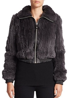 MICHAEL MICHAEL KORS Knit Rex Rabbit Fur Bomber Jacket
