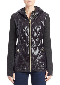 MICHAEL MICHAEL KORS Knit-Sleeve Quilted Jacket